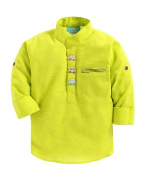 LIL PITAARA Solid Long Sleeves Shirt With Car Shaped Buttons - Lime Green