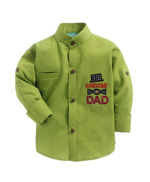 LIL PITAARA Handsome Dad Embroidered Full Sleeves Shirt - Green