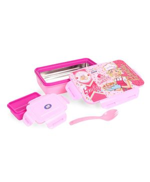 Barbie Rolex Steel Insulated Clip Lock Lunch Box With Spoon - Pink