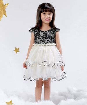 Mark & Mia Cap Sleeves Party Wear Dress Pearl Applique - Black