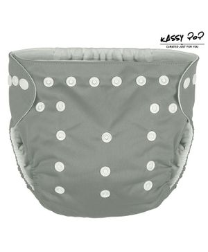 Kassy Pop Reusable Diaper Cover With Cotton Absorbing Pad - Grey