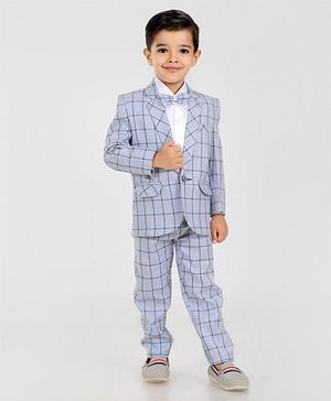Dew's Burry Full Sleeves Checkered 3 Piece Suit With A Bow - Grey
