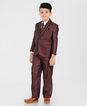 Dew's Burry Solid 3 Piece Party Suit Set With Tie - Maroon