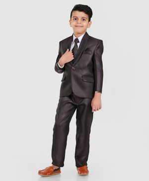 Dew's Burry Full Sleeves 3 Piece Party Suit Set With Tie - Brown