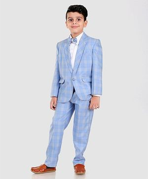 Dew's Burry Full Sleeves Checked 3 Piece Party Suit Set With Bow - Blue