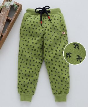 Stupid Cupid Bird Print Full Length Bottom - Green