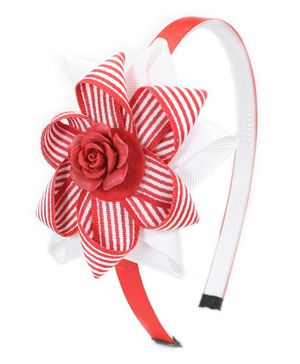 Asthetika Flower Applique Hair Band - Red