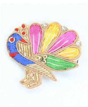 Asthetika Embroidered Peacock Hair Clip - Multi Color