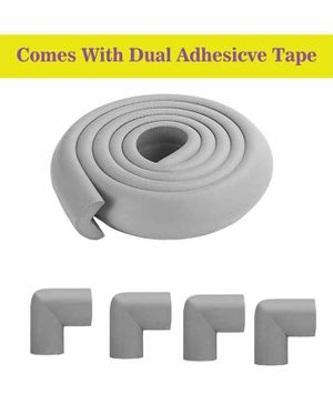 Syga Baby Safety 4 Corner Guard & 1 L Shape Edge Guard With Strong Tape - Grey