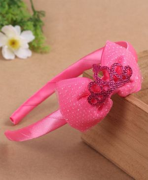 Babyhug Hair Band Bow & Crown Applique - Light Pink