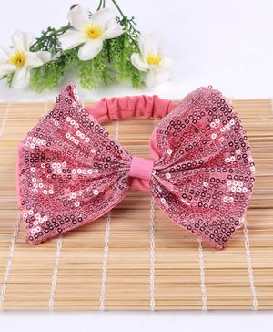 Babyhug Headband Sequinned Bow Applique - Pink