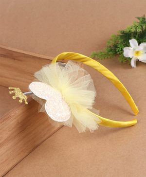 Babyhug Hair Band Sequin Heart Applique - Yellow