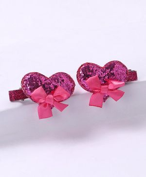 Babyhug Sequin Heart Alligator Hair Clip - Dark Pink
