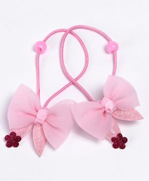 Babyhug Hair Rubber Band With Glitter Bow Pack of 2 - Pink