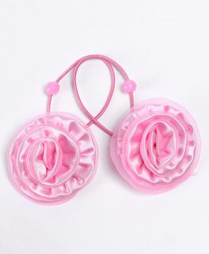 Babyhug Hair Rubber Band With Floral Design Pack of 2 - Pink