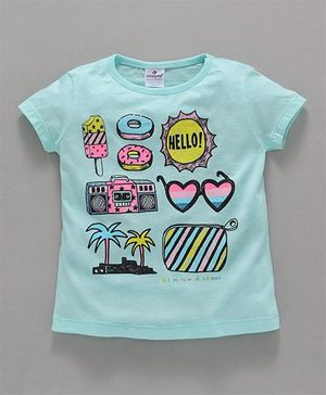 Ollypop Half Sleeves Supima Cotton Tee Summer Print - Mint Green