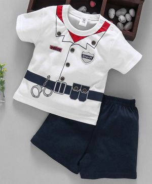 ToffyHouse T-Shirt & Shorts Police & Sheriff Patch - White & Black