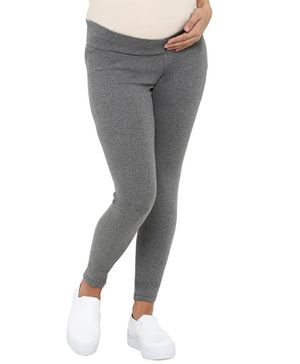 Mamacouture Full Length Solid Maternity Leggings - Grey