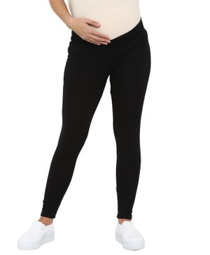 Mamacouture Full Length Solid Maternity Leggings - Black