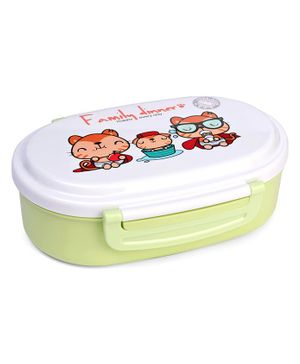 Lunch Box With Spoon - Green White