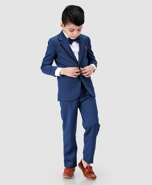 Babyhug 3 Piece Party Wear Suit With Bow Tie - Blue