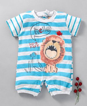 Little Kangaroos Half Sleeves Stripe Romper Lion Print - Blue White