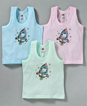 Zero Sleeveless Vest Rocket Print Pack of 3 - Green Blue Pink