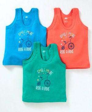 Zero Sleeveless Vest Cycle Print Pack of 3 - Orange Green Blue
