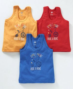 Zero Sleeveless Vest Cycle Print Pack of 3 - Red Yellow Blue