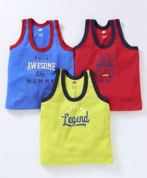 Zero Sleeveless Vest Legend Print Pack of 3 - Green Blue Red