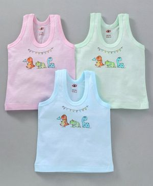 Zero Sleeveless Vest Dino Print Pack of 3 - Green Blue Pink