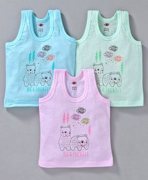 Zero Sleeveless Vest Panda Print Pack of 3 - Green Blue Pink