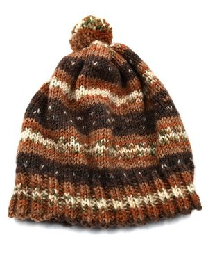 Magic Needles Contrast Shaded Design Pattern Cap - Brown