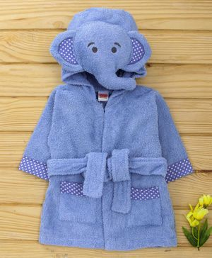 Babyhug Cotton Full Sleeves Hooded Bath Robe Elephant Design - Blue