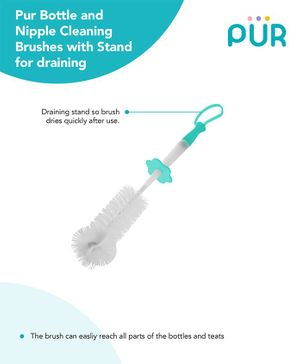 Pur Bottle & Nipple Brushes With Stand  -  (Colour May Vary)