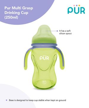 Pur Multi Grasp Twin Handle Sipper Cup Green Grey - 250 ml