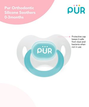 Pur Orthodontic Silicone Soother - Blue