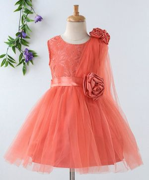 Babyhug Sleeveless Party Frock 3D Satin Flowers - Coral