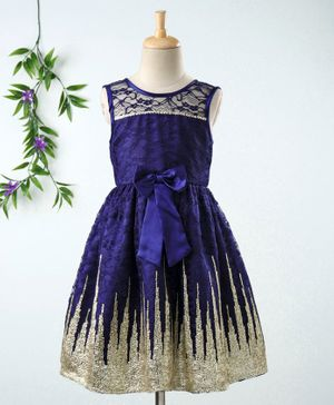 Babyhug Sleeveless Frock With Sequin Work & Bow Applique - Navy Blue