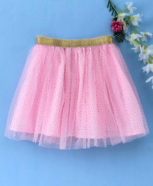 Babyhug Party Wear Net Frill Skirt With Gold Glitter - Pink
