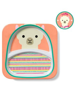 Skiphop Sectioned Plate Llama Print - Peach