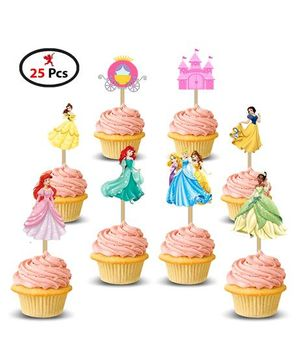 Party Propz Princess Cup Cake Topper Pack of 25 - Multicolour