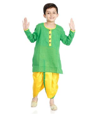 Little Pockets Store Solid Long Sleeves Kurta & Dhoti Set - Green
