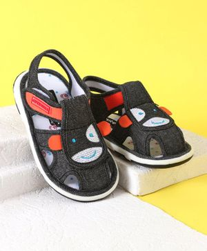 Cute Walk by Babyhug Musical Canvas Sandals - Black