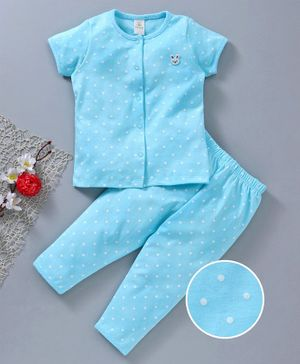 Baby Naturelle & Me Half Sleeves Night Suit Dot Print - Blue