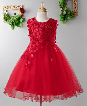 Mark & Mia Sleeveless Frock Flower Applique - Red