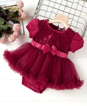 Mark & Mia Puff Sleeves Frock Style Onesie With Bow Applique - Maroon