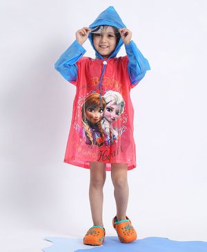 Babyhug Full Sleeves Hooded Raincoat Disney Frozen Print - Blue Pink