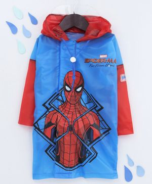 Babyhug Full Sleeves Hooded Raincoat With School Bag Provision Spider Man Print - Blue Red