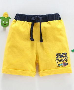 Babyhug Elastic Waist Solid Shorts Text Print - Yellow